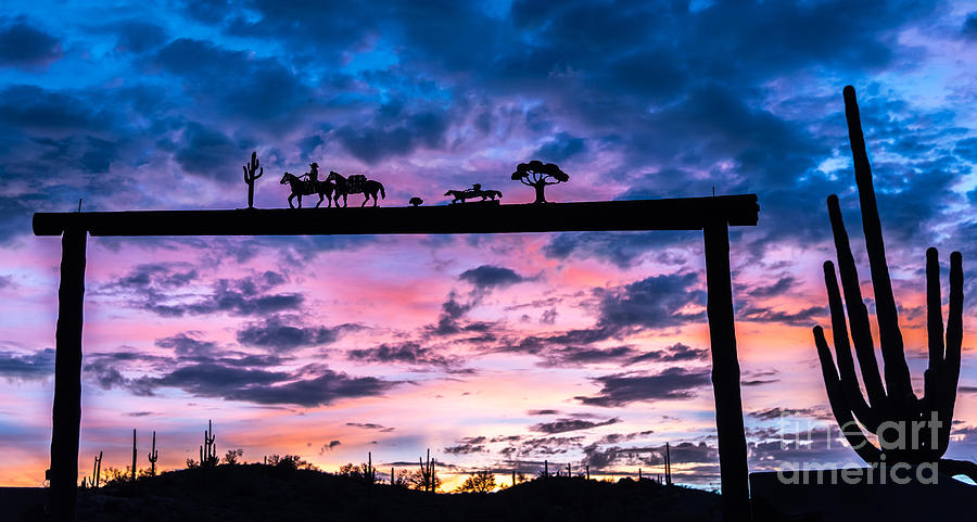 Western Photograph - Sunset at the Ranch by Leo Bounds