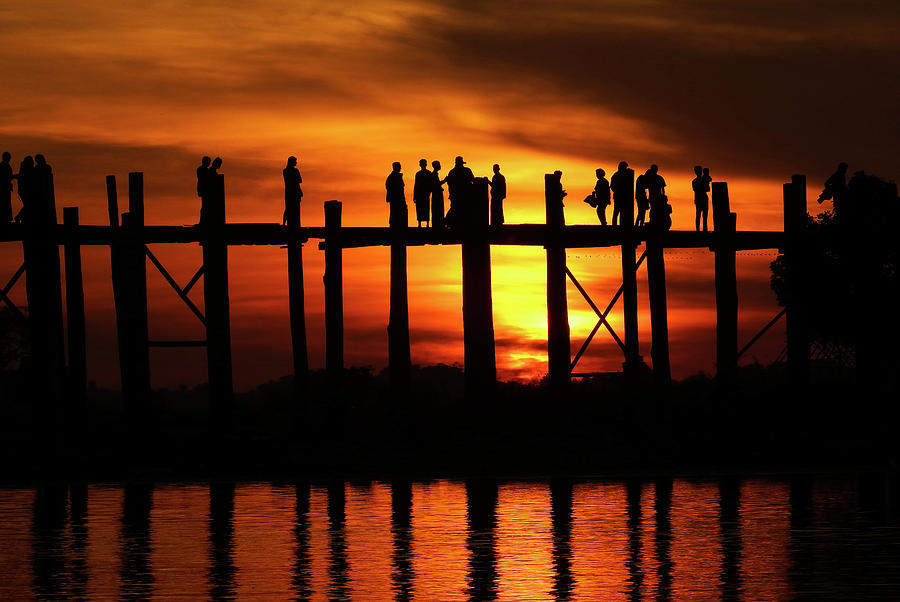 Sunset at U Bein Bridge Myanmar by Kurt Van Wagner