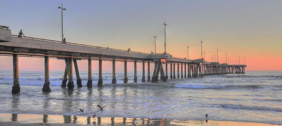 Sunset at Venice Beach Pier by Richard Omura