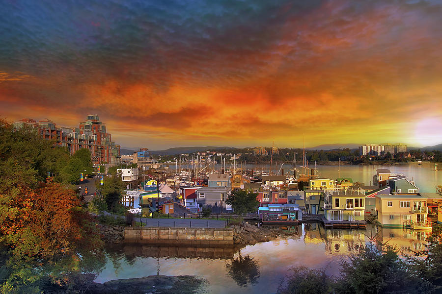 Victoria Photograph - Sunset At Victoria Inner Harbor Fishermans Wharf by David Gn