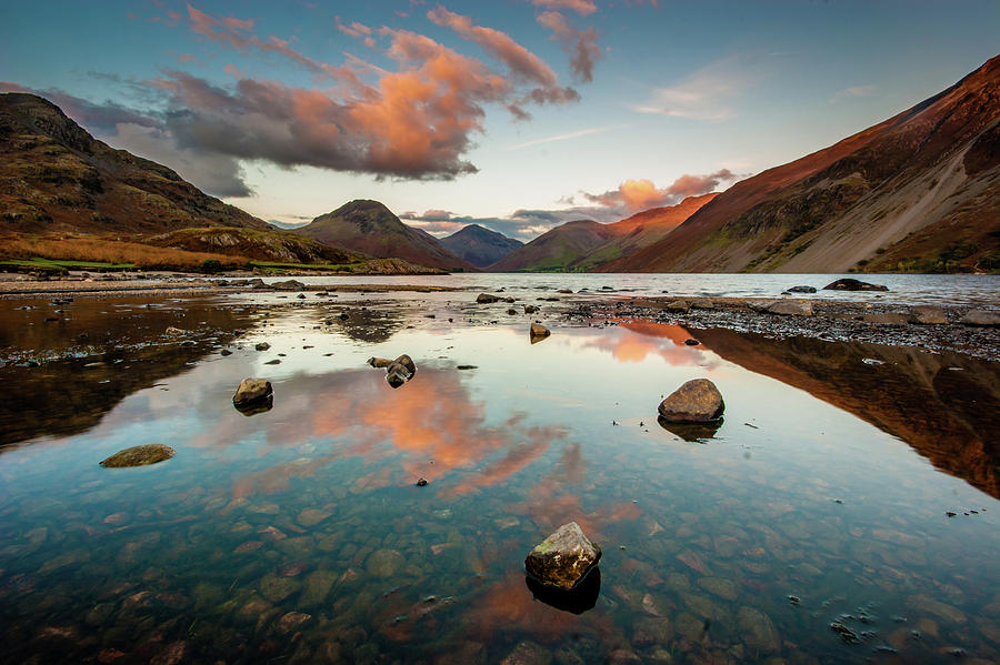 Sunrise Photograph - Sunset at Wast Water #1, Wasdale, Lake District, England by Anthony Lawlor