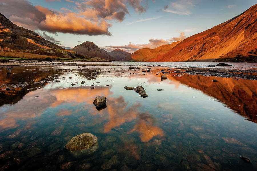 Sunrise Photograph - Sunset At Wast Water #2, Wasdale, Lake District, England by Anthony Lawlor