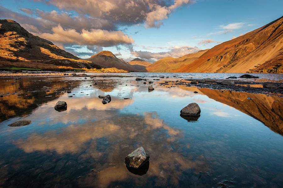 Sunrise Photograph - Sunset at Wast Water #3, Wasdale, Lake District, England by Anthony Lawlor