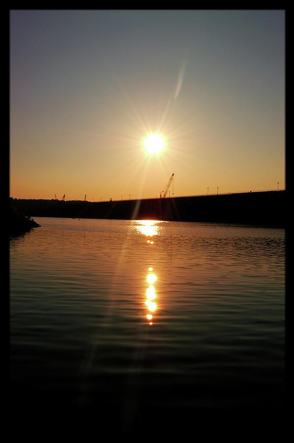 Lake Photograph - Sunset At Wolf Creek Dam by Amber Flowers