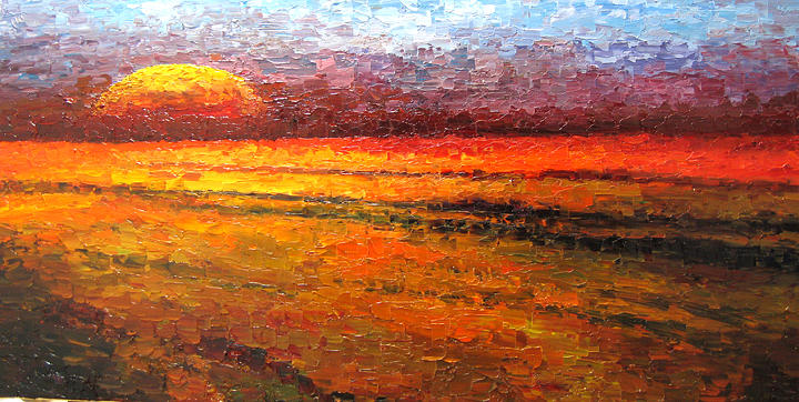 Landscape Painting - Sunset by Atousa Foroohary