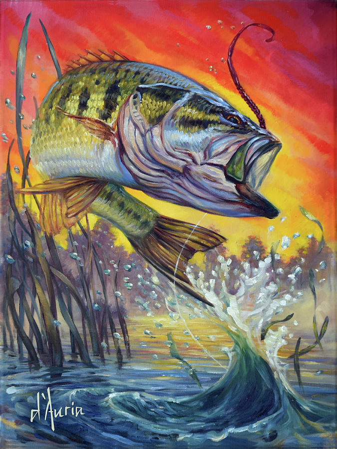Freshwater Painting - Sunset Bass by Tom Dauria
