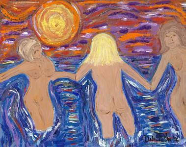 Sunset Painting - Sunset Bathers by Debra LaBar