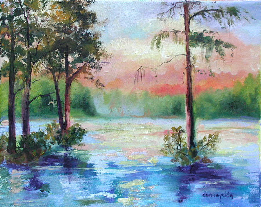 Sunset Painting - Sunset Bayou by Ginger Concepcion