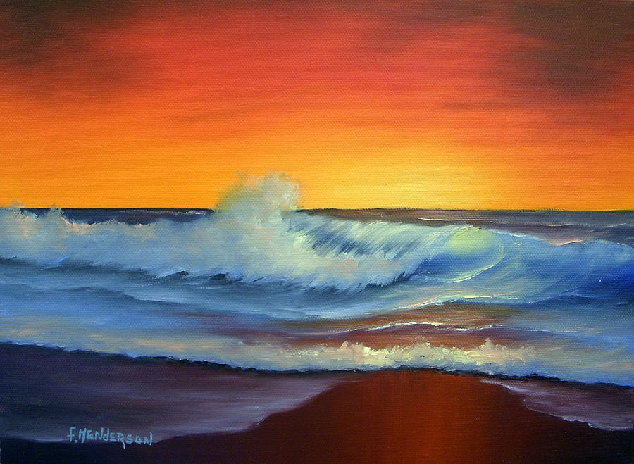sunset beach painting by francine henderson