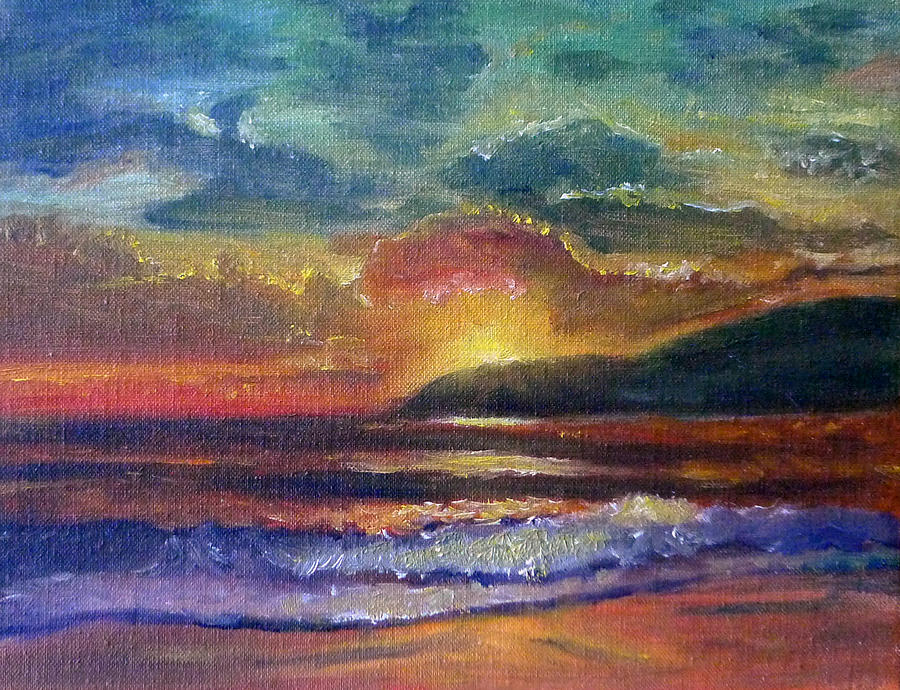 Seascape Painting - Sunset Beach by Linda Pope