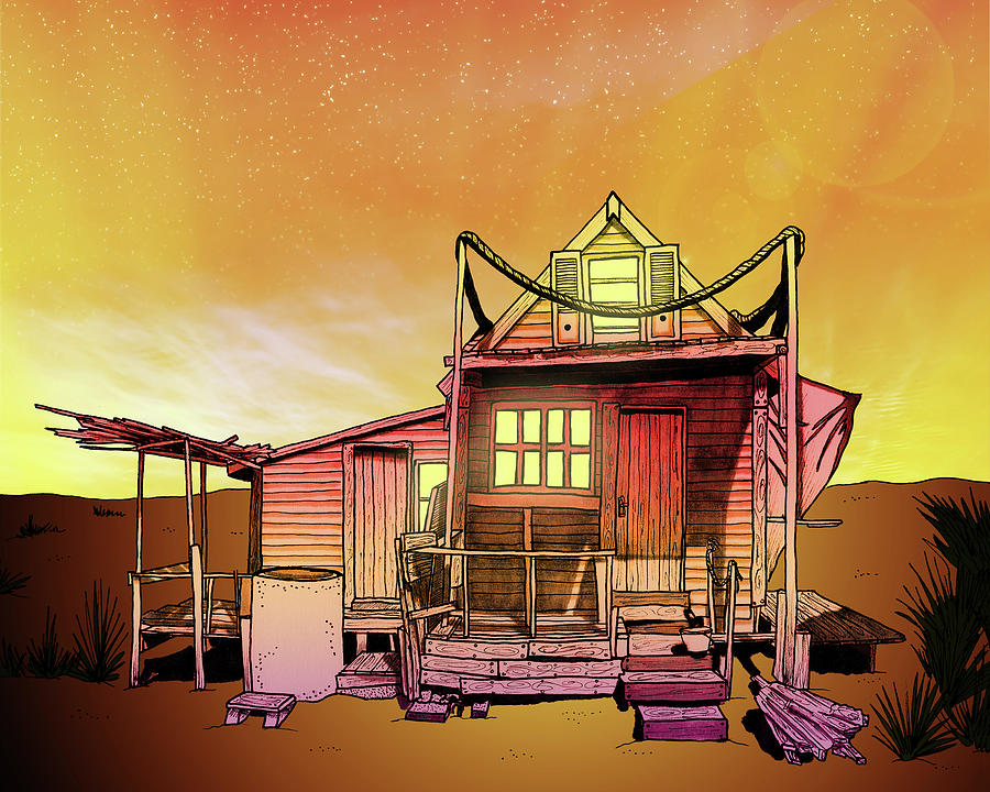Sunset Beach Shack Drawing