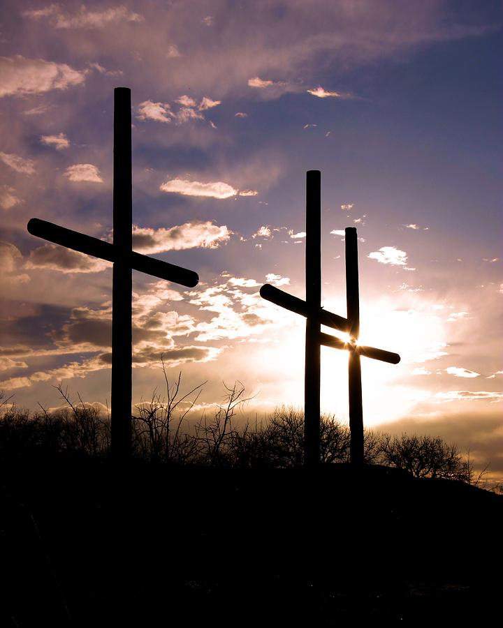 Cross Photograph - Sunset Behind The Cross by Tim Abshire