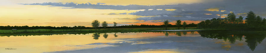 Landscape Painting - Sunset Ben Jack Pond by Mike Brown
