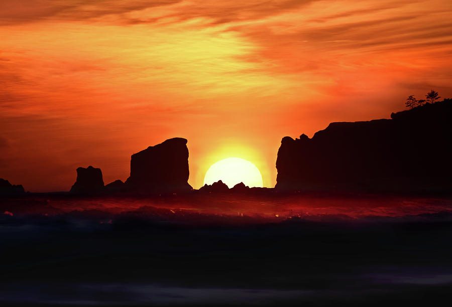 Sunset Photograph - Sunset Between Rocks Point Grenville by Scenic Edge Photography