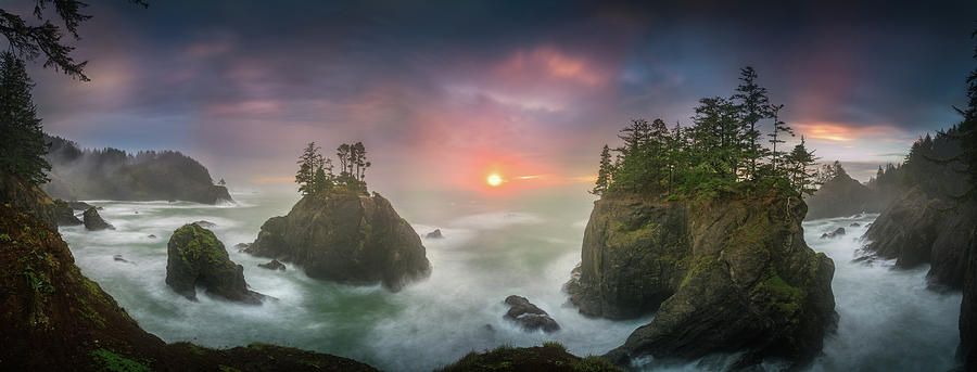 America Photograph - Sunset Between Sea Stacks With Trees Of Oregon Coast by William Freebilly photography