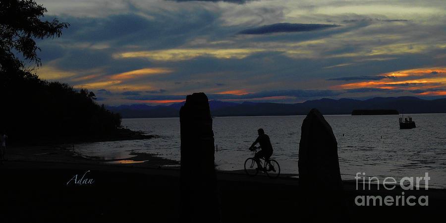 Earth Clock Photograph - Sunset Bicycle At Earth Clock Burlington Vermont Panorama by Felipe Adan Lerma
