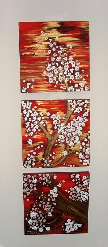 Triptych Painting - Sunset Blossom by Ilica Ana maria