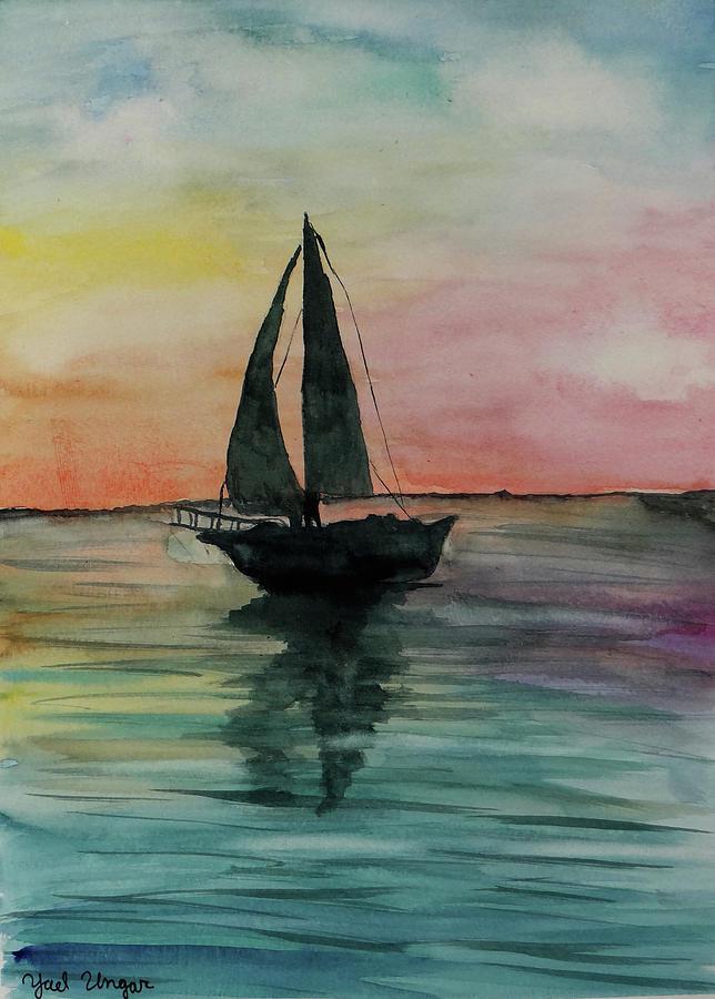 Sunset Boat 1 Painting by Yael Ungar