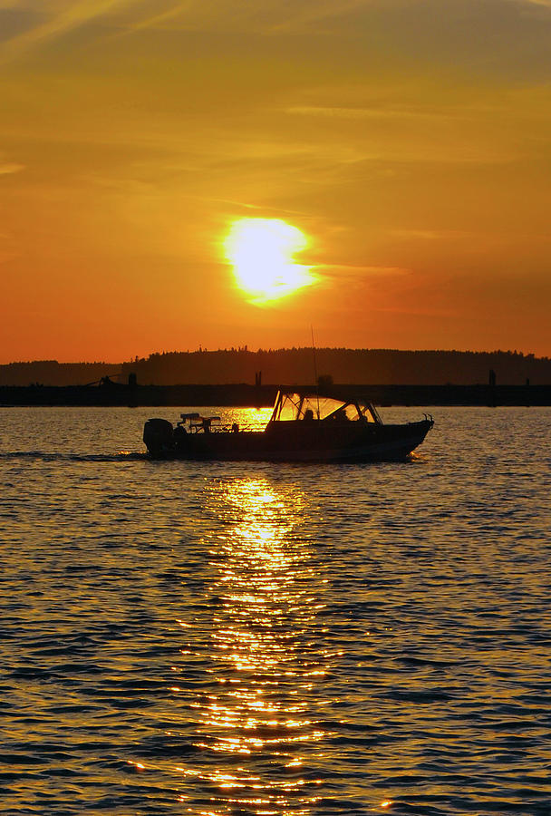 Landscape Photograph - Sunset Boat by Brian OKelly