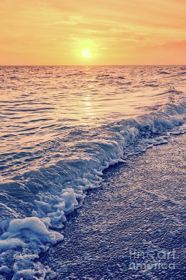 Wave Photograph - Sunset Bowman Beach Sanibel Island Florida Vintage by Edward Fielding