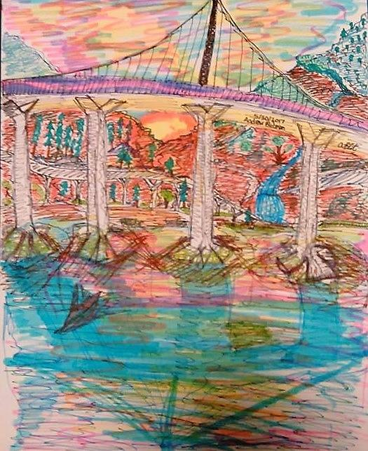 Sunsets Mixed Media - Sunset Bridge by Andrew Blitman