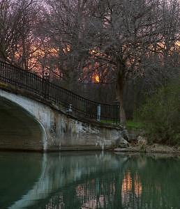 Elizabeth Park Trenton Photograph - Sunset Bridge Vert by Angeys Photography