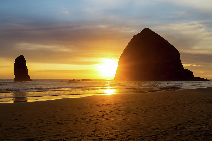 Cannon Beach Photograph - Sunset By Haystack Rock At Cannon Beach by David Gn