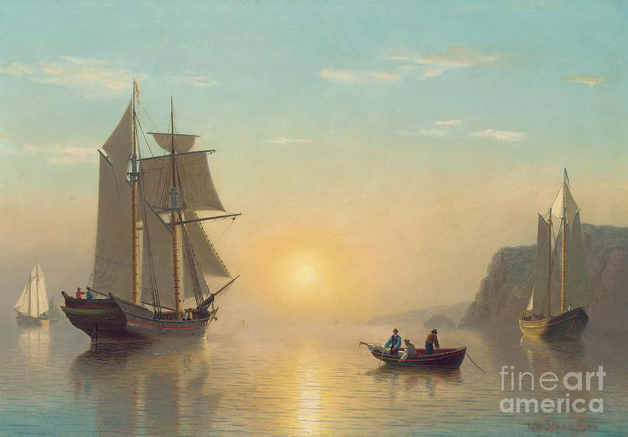 Boat Painting - Sunset Calm in the Bay of Fundy by William Bradford