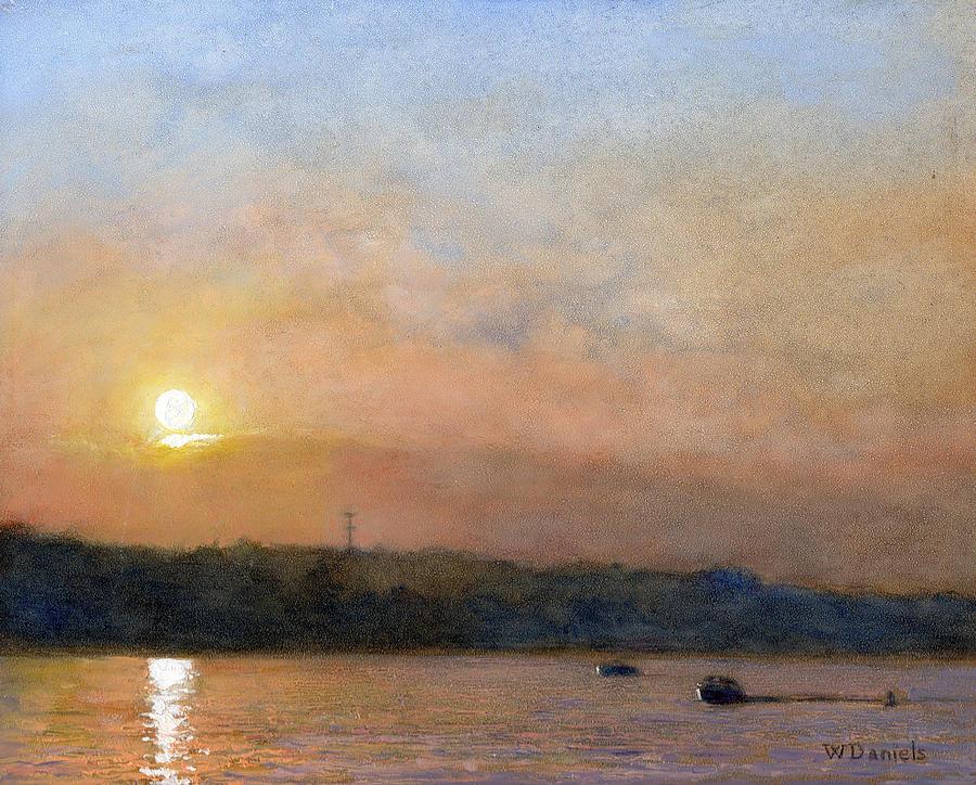 Landscape Painting - Sunset- Cazenovia Lake by Wayne Daniels