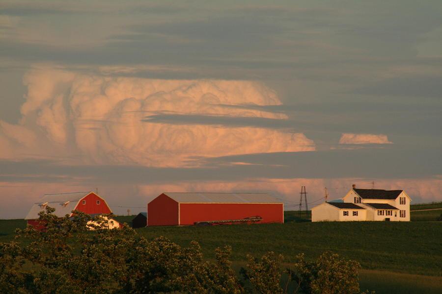 Farm Scene Photograph - Sunset Colors by Linda Ostby