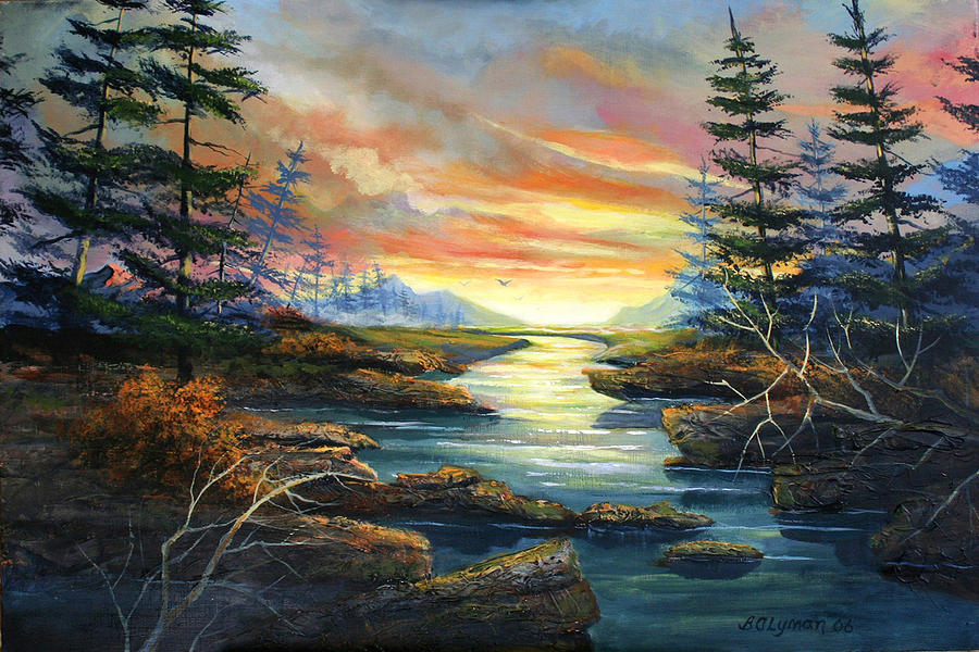 Landscape Painting - Sunset Creek by Brooke Lyman