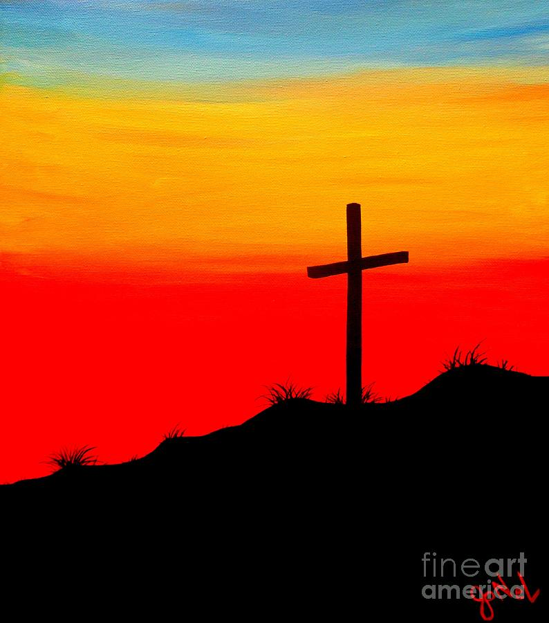 Sunset cross painting by jonel art for Cross paintings on canvas