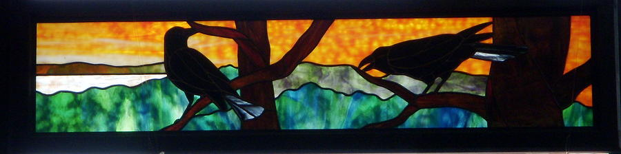 Crows Glass Art - Sunset Crows by Jane Croteau