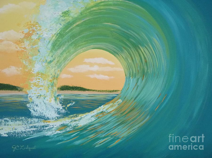 Green Sunset Curl by Jenn C Lindquist