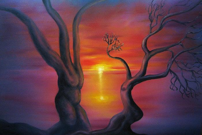 Landscape Painting - Sunset Dance Fantasy oil painting by Natalja Picugina