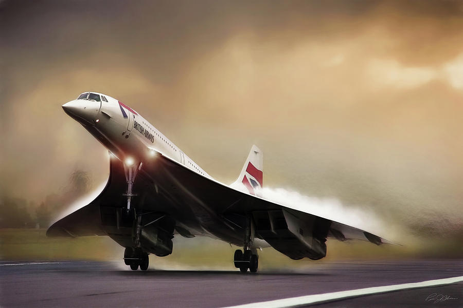 Concorde Digital Art - Sunset Departure by Peter Chilelli