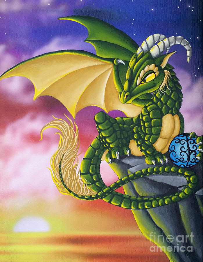 Dragon Painting - Sunset Dragon by Mary Hoy