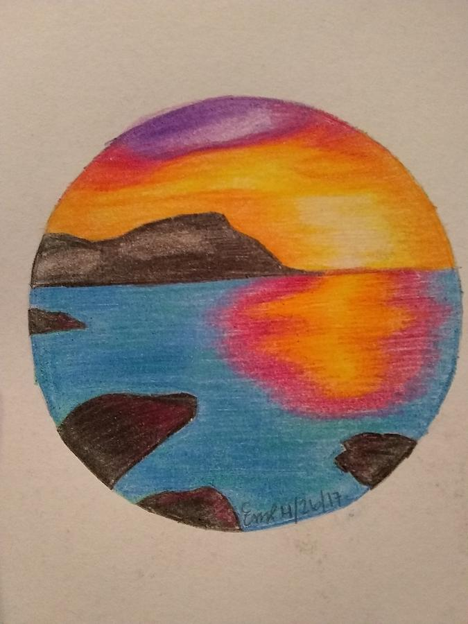 Sunset Drawing by Emily Ripplinger