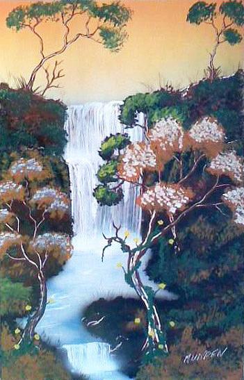 Waterfall Painting - Sunset Falls by Jonathan Munden