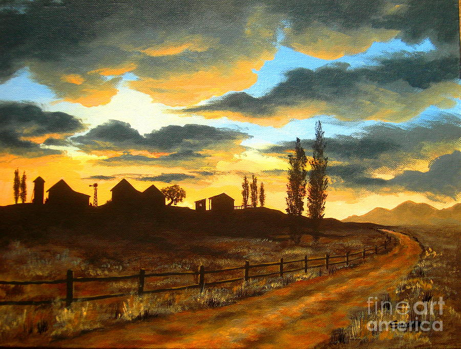 Landscape Painting - Sunset  Farm by Shasta Eone
