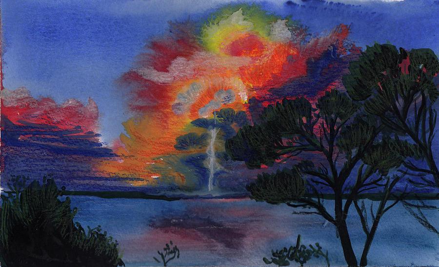 Sunset Painting - Sunset Firecloud by Xiao Zeng