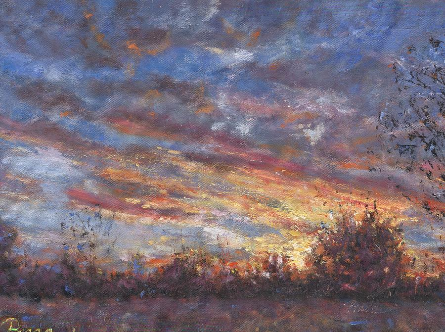 Landscape Painting - Sunset Fires by Horacio Prada