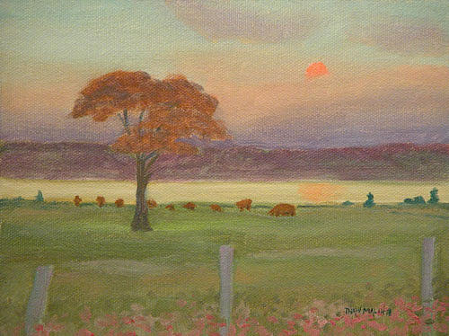 Sunset Painting - Sunset Flat Point Farm by Thaw Malin III