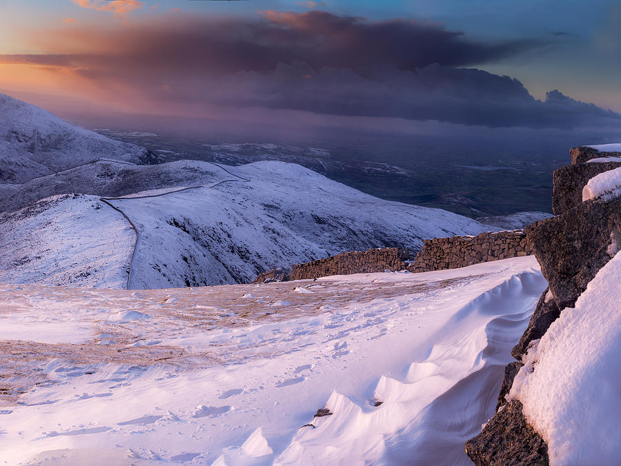 County Down Photograph - Sunset Following The Mourne Wall by Glen Sumner
