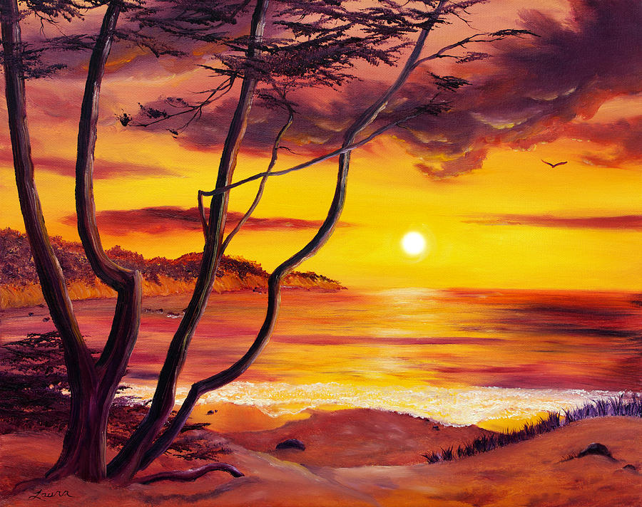 Sunset From A Carmel Cypress Tree Painting By Laura Iverson