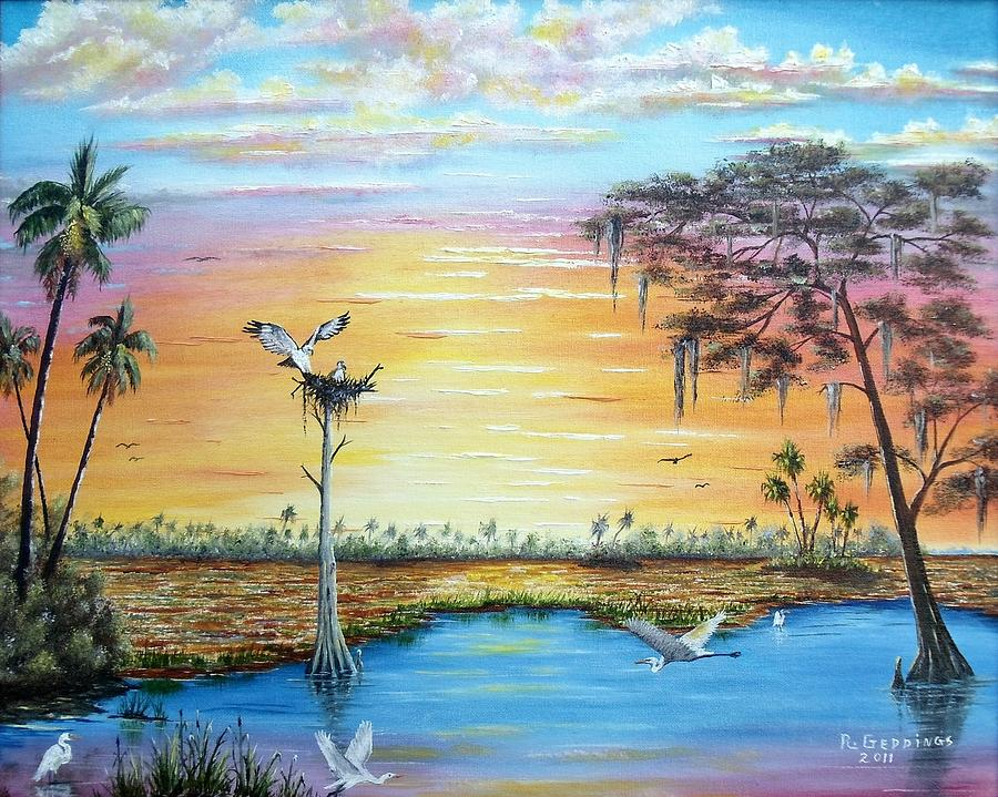 Art Work Painting - Sunset Gathering by Riley Geddings