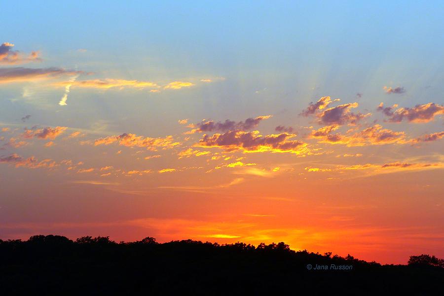 Sunset Digital Art - Sunset Glory Orange Blue by Jana Russon