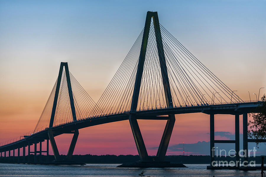 Sunset Glow Over The Cooper River Bridge Photograph