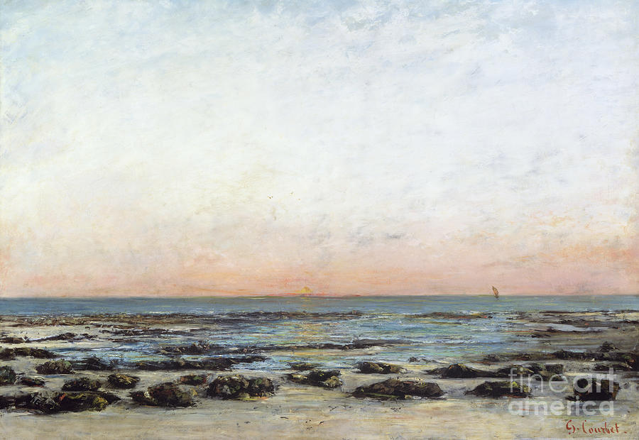 Sunset Painting - Sunset by Gustave Courbet