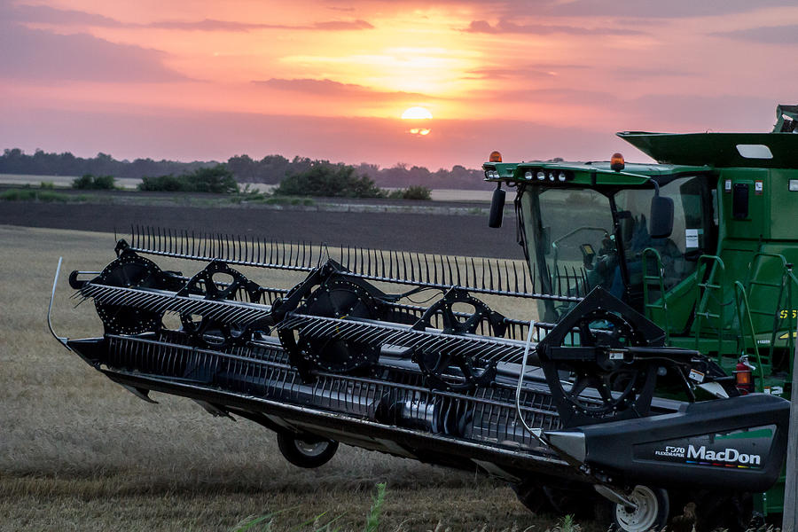 Combine Photograph - Sunset Harvest by Lori Root